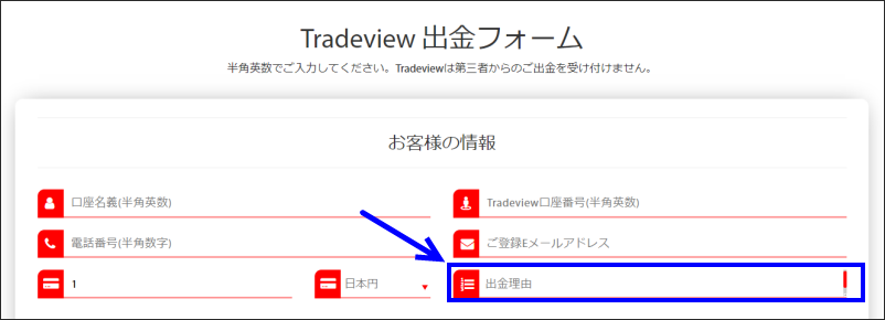 Tradeview 出金理由