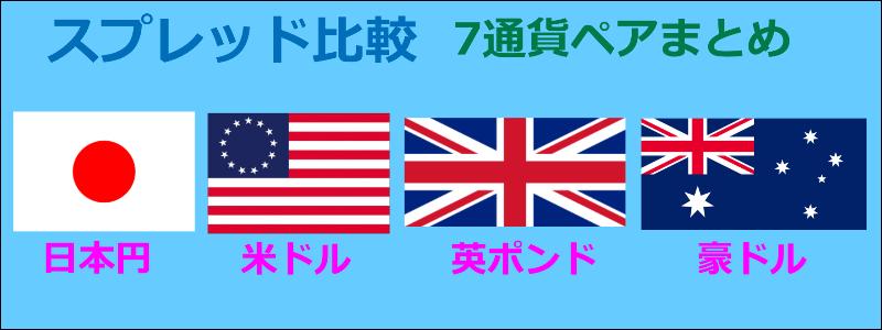海外FXスプレッド比較 7つの通貨ペアまとめ